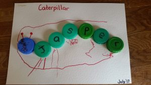 HOW TO MAKE….. Bottle top name caterpillars!